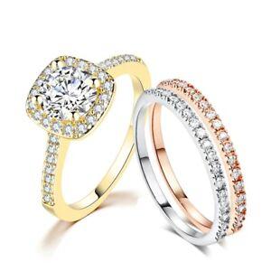 Lady Round Lab Diamond White Gold/Rose Gold/Yellow Gold Filled Triple Ring Set