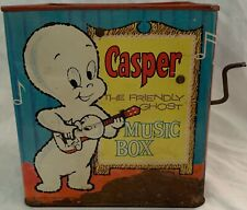 1950's CASPER THE FRIENDLY GHOST JACK IN THE BOX MUSICAL TOY TIN! MATTY MATTEL ~