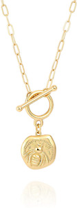 18k Gold Coin Pendant Bee Necklace for Women Toggle Paperclip Chain Necklace Day