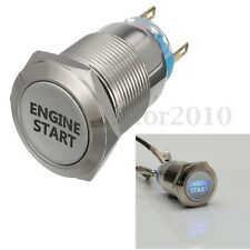 19mm Blue LED Latching Ignition ENGINE START Metal Switch Push Button 12V