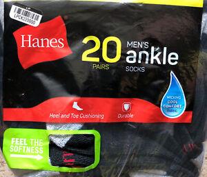 Hanes Men's Ankle Socks Shoe Size 6-12 Heel Toe Cushioning 20 Pair Black