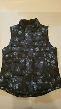 Women's Gap Blue Puffer Vest With Flowers Sz M