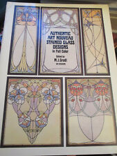 AUTHENTIC ART NOUVEAU STAINED GLASS DESIGNS IN FULL COLOR M J GRADL C1983