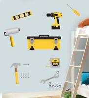 Childrens Tool Set Wall Art Stickers Bob Drill Hammer Screwdriver Nails Builder