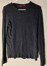Hugo Boss Black Wool Silk Ribbed Long Sleeve V-Neck Sweater Men's Size Medium M