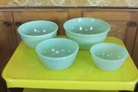 Vintage Anchor Hocking Fire King Jadeite Swirl Nesting Mixing Bowls 4 Piece Set