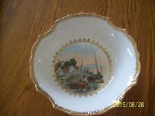 Three Crown China Porcelain Bowl Hand Painted Dock Windmill & Sailboat Village