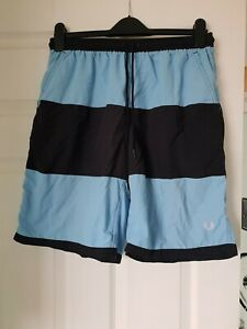 Fred Perry Blue And Navy Swim Shorts Size Medium