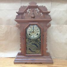 1900's antique Antique Wood Gingerbread Kitchen Shelf Mantel Clock