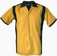 Rockabilly Fashions Retro Vintage Bowling 1950 1960 Men's Shirt Black Yellow