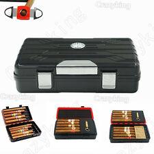 Cohiba Black Double-Deck Multifunction Travel Cigar Humidor Humidifier Cutter