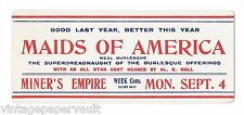 VINTAGE 1917 MAIDS OF AMERICA BURLEQUE SHOW ADVERTISING INK BLOTTER - UNUSED