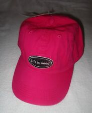 Womens Life Is Good One Size Pop Pink Embroidered Oval Adjustable Chill Cap
