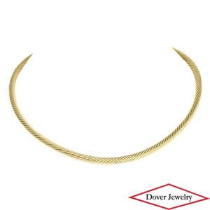 David Yurman 18K Yellow Gold Cable Chocker Necklace 28.5 Grams NR