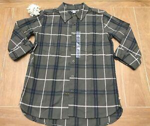 Carhartt Fairview Women Size Small 4/6 Plaid Shirt Green, Grape Leaf NWT