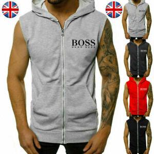 UK Mens Sleeveless Hoodie Tops Sport Workout Gym Fitness Hooded Zipper Vest Tank