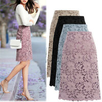 Womens Floral Lace Layered High Waist Midi Length A-Line Elegant Ladies Skirt