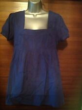 ICHI Blue Cotton Short Sleeved Top With Embossed Embroidery Size L
