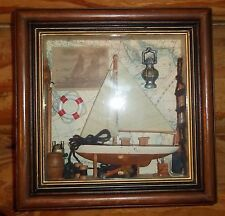 Nautical Shadow Box with Sail Boat  Made by Arister Gifts