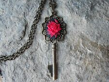 RED ROSE ON BLACK CAMEO SKELETON KEY NECKLACE - UNIQUE - VICTORIAN