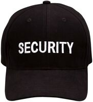 Black Security Cap Adjustable Embroidered Uniform Hat Guard Officer Agent