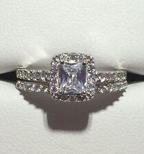 Brilliant!! Princess Cut 925 Solid Sterling Silver 2 Piece CZ Wedding Set Sz 7