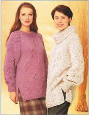 Ladies warm winter chunky  jumper sweater pullover knitting pattern Women's.