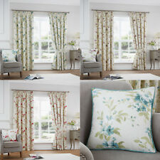 """JEANNIE Floral Print Lined Ready Made 3"""" Tape Top Pencil Pleat Curtains Pair"""