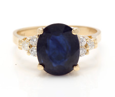 5.75Ct Natural Blue Sapphire & Diamond 14K Solid Yellow Gold Ring