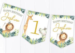 Personalised Jungle Safari Happy Birthday Bunting, Children's Party Banner