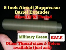 "Airsoft Accessories 6"" Military Green Suppressor Barrel Extend 14mm CCW Thread"