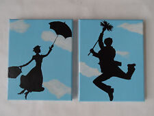 Mary Poppins & Bert Painted Canvas Wall Hangings / Wall Art - Disney Set of 2