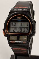 TIMEX TRIATHLON Men's Vintage 1990 DigiTal Wristwatch 8 Lap Works FREE SHIP