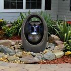 Indoor Outdoor Polyresin Water Fountain Feature Led Lights Oval Garden Statue