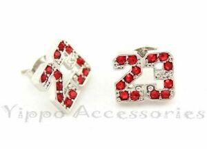 Jordan Number 23 Basketball Silver Tone w/ Red CZ Stones Stud Earrings