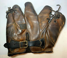 VTG ANTIQUE LEATHER BASEBALL GLOVE REACH BUCKLE BACK DOUBLE TIED OLD EARLY MITT