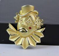 Vintage Brushed Gold Tone Figural Clown Brooch