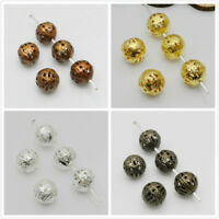25/50/100Pcs Metal Charm Hollow Flower Ball Loose Spacer Beads Finding 4/8/10mm