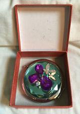 VINTAGE STYLE Aqua Blue Purple Rhinestone Embeaded Pocket Mirror Compact BOXED