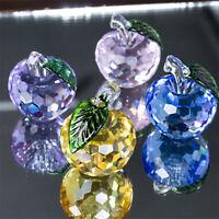 H&D 4pcs/set Crystal Apple Paperweight Glass Craft Decoration Desktop Gift