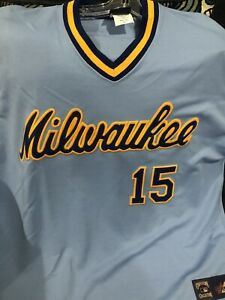 Majestic Cooperstown Collection Milwaukee Brewers Cecil Cooper replica jersey XL