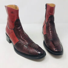 Gianni Barbato 37.5 Red Leather Crock Ankle Boots 2400-539-12820