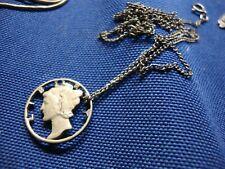 Carved Mercury Dime Necklace Grandmas Estate 925 Sterling Silver