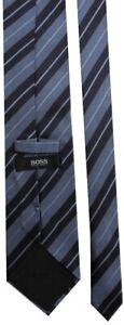 HUGO BOSS Classic Mens Navy Blue Woven Striped Silk Necktie Tie - RRP £80