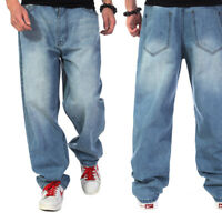 Men's Jeans Relaxed Fit Big & Tall Loose Pants Simple Light Wash Plus Size 30-46