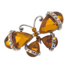 Butterfly Insect Pin Brooch Costume Jewelry Crystal Rhinestone Brown Silver Tone