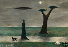 Gertrude Abercrombie Art Print/Poster/Walking Black Cat/Reproduction