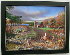 John Deere Tractor Deer Farmland Framed Country Primitive Pictures Prints