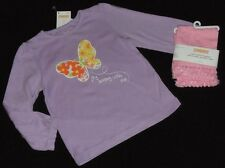NWT 2T Gymboree Butterfly Blossoms purple top & pink tulle capri leggings set