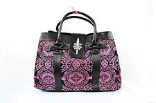 MOUTON NOIR Black Pink Embroidery Tote Weekender Bag Handbag Purse Satchel